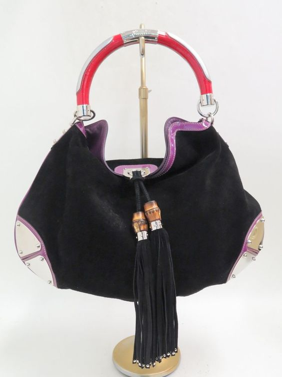 chloe cheap handbags - Gucci Indy Large Tassel Hobo Bag Black Suede with Red & Purple ...