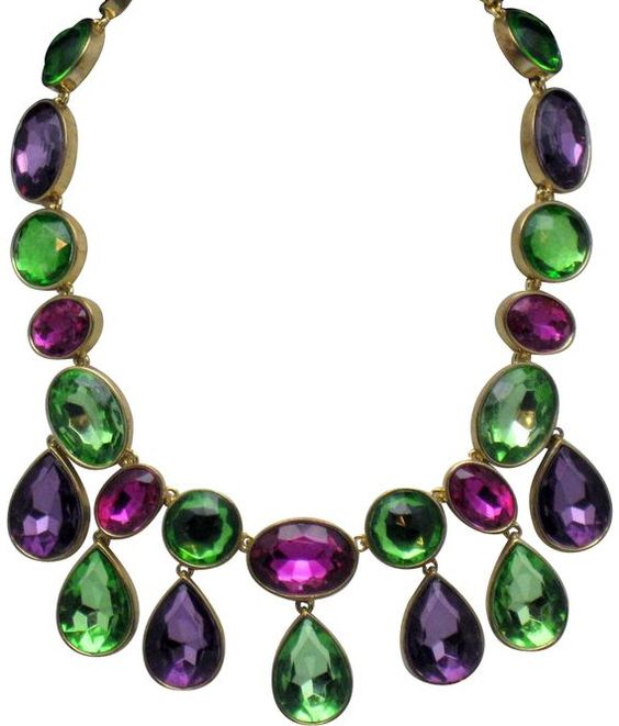 arnold scaasi collier pampilles vert et violet - Vert Et Violet