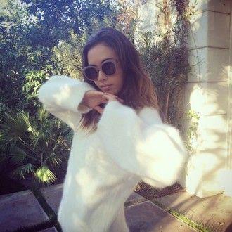 sweater jumper sunglasses instagram tumblr rosy white fuzzy sweater fur cute tumblr fashion