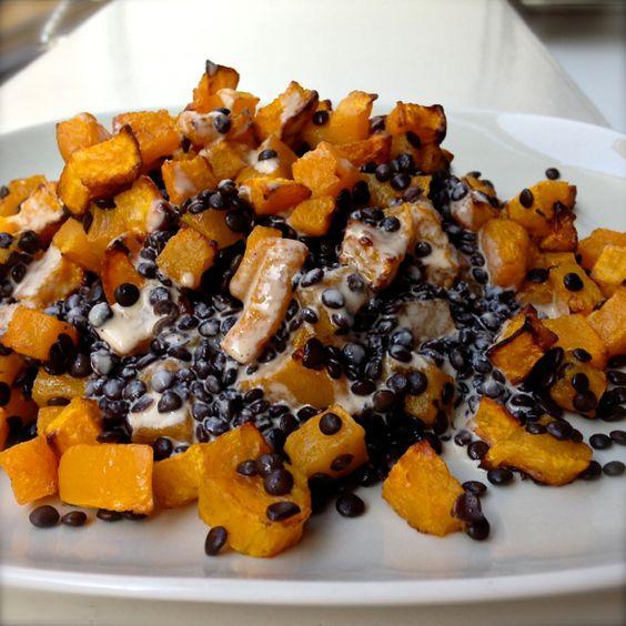 FOOD FRESHION – Food Blog Lauwarmer Salat vom Butternusskürbis & Beluga-Linsen