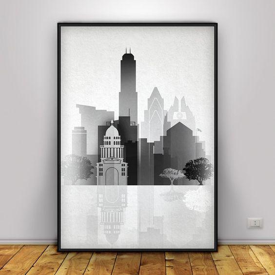 Austin print, Graphic, Austin Texas, sepia color, Austin Skyline, Austin Texas, Austin Art, Austin Poster, Austin TX, Skyline