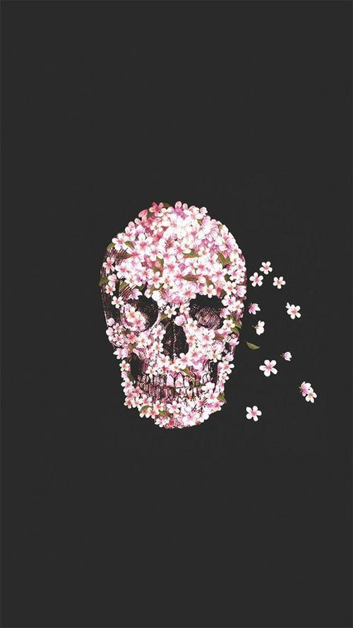 flower skull em We Heart It.