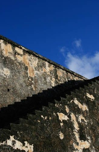 mossy stone steps blue sky 8x10 architecture art photo, San Felipe Del Morro | LibertyImages - Photography on ArtFire