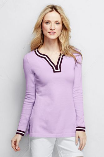 Women's Cotton Tunic Sweater - Tipped from Lands' End