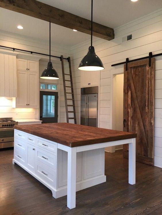 Kitchen Island, lights, barn door, ship lap, beams