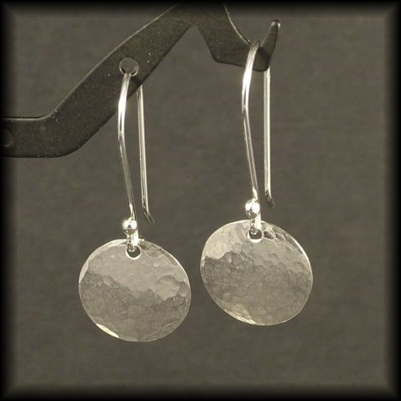 Hammered Silver Earrings / Small Sterling Silver Circle Dangle Earrings / Disk Timeless Design  Cute Simple Everyday Wear