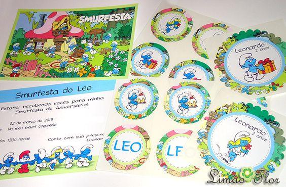 #smurf papelaria personalizada - faça seu pedido em www.limaoflor.com.br