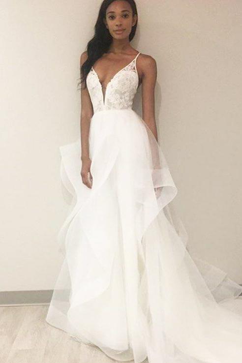 Criss Cross Back Spaghetti Strap Deep V Neck Tulle Bridal Dress With Lace Bodice Jojobride On Sal A Line Wedding Dress Applique Wedding Dress Wedding Dresses