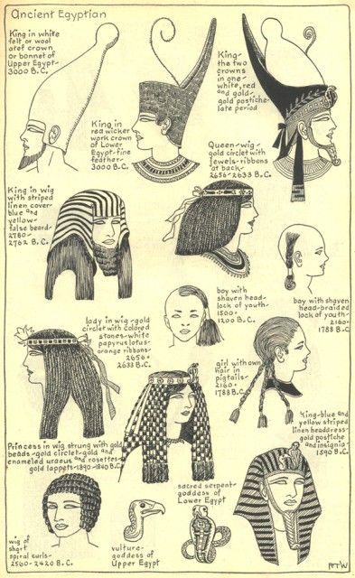 Village Hat Shop Gallery :: Chapter 1 - Ancient Egyptian :: Illustrations of the different hat styles of the Ancient Egyptians. (1 of 3):