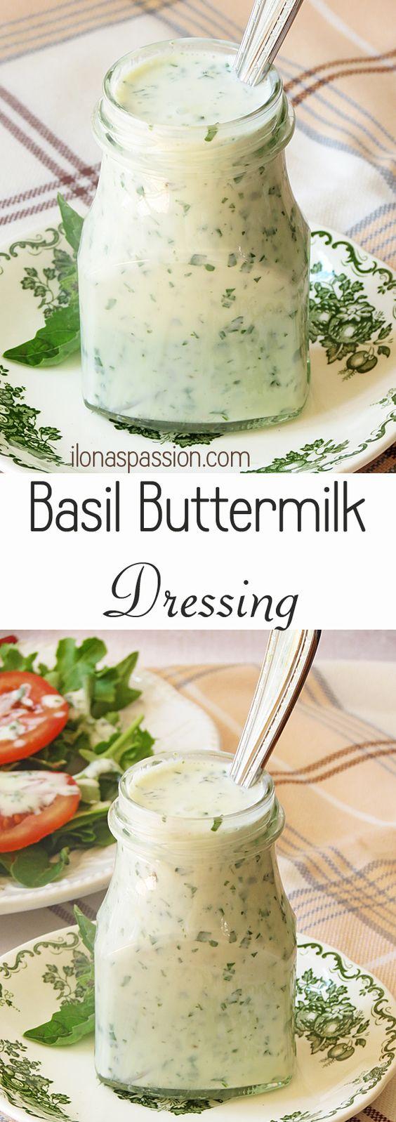 Healthy Basil Buttermilk Dressing by ilonaspassion.com #basil #dressing #buttermilk #healthy
