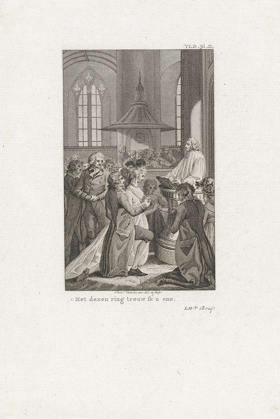 Reinier Vinkeles | Kerkelijke huwelijksceremonie, Reinier Vinkeles, 1797 - 1802 | In een kerk wordt een huwelijk voltrokken. De bruidegom schuift een ring om de vinger van zijn geliefde.
