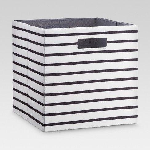 Fabric Cube Storage Bin White Black Stripe 13 Threshold Cube