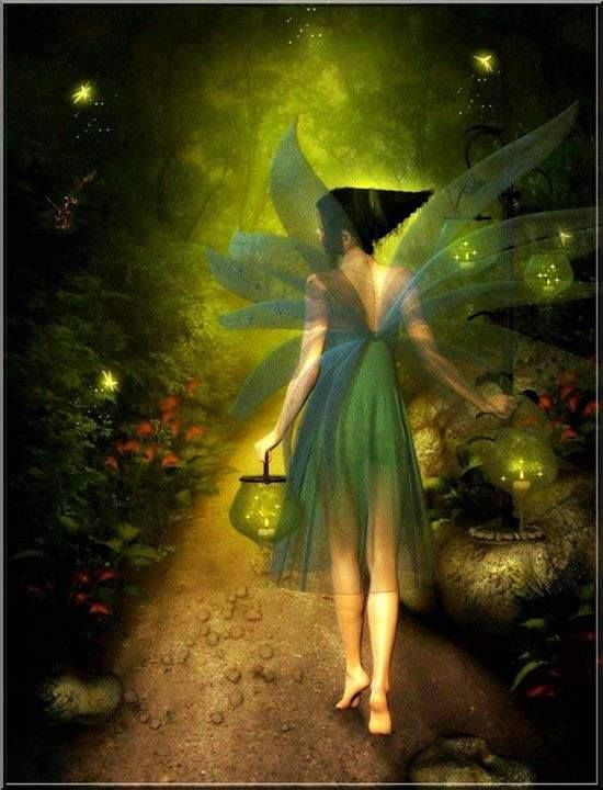 Little Green flying hood !  of The faerie Elves Faeries Gnomes:  #Faery.