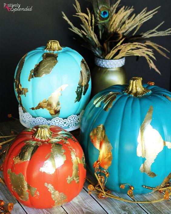 DIY Gold Foil Pumpkins by Positively Splendid #michaelsmakers