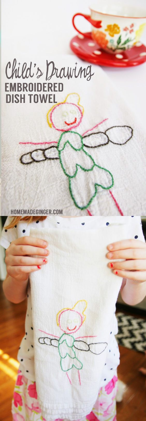 Child s drawing embroidery dish towel towels gifts