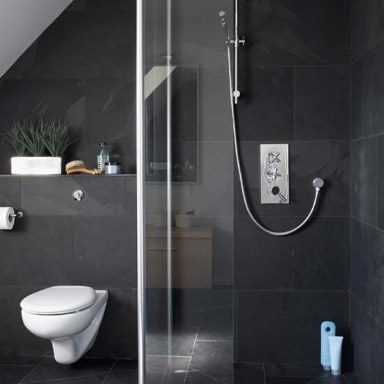 Ensuite bathroom...  Simple, with natural light and slope to ceiling.