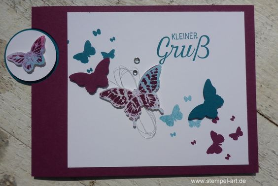 Butterfly cards by stamp type Josephs Coat Technique, Stampin up, Papillon…