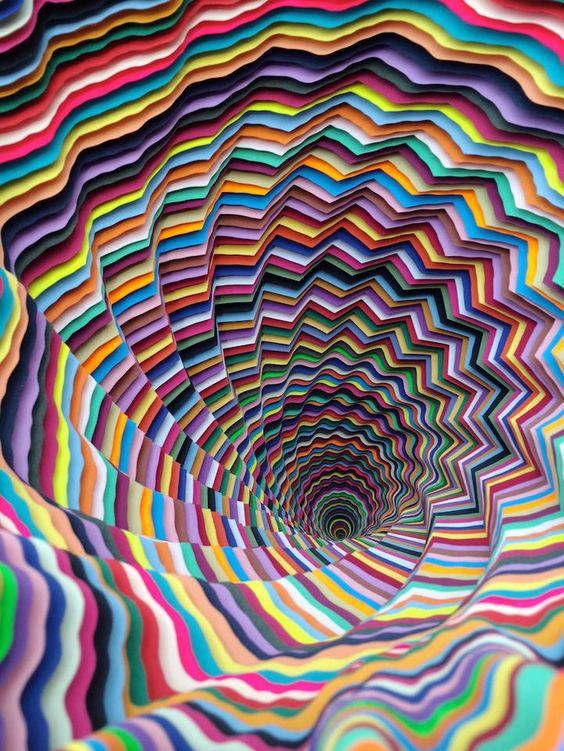 New Mesmerizing Paper Sculptures by Jen Stark at Art Basel 2014 (this photo via 'Valentine Uhovski') - from 'MyModernMet.com'★★★