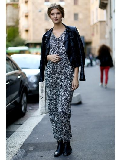Printed jumpsuit with leather jacket and booties