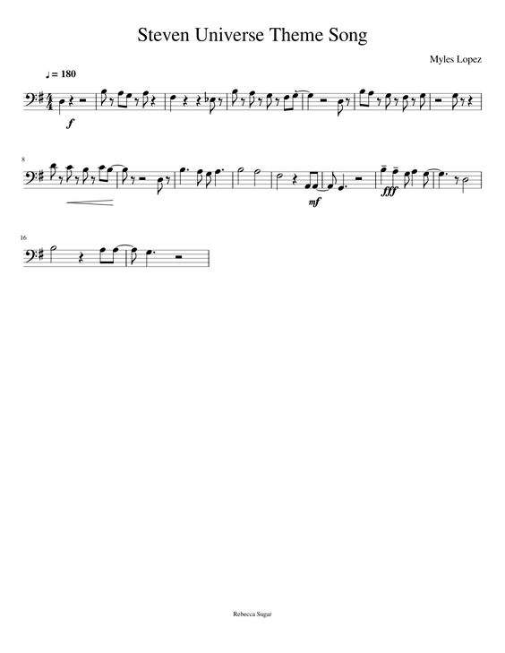 Steven Universe Theme Song for Trombone | MuseScore I can make this happen on a cello