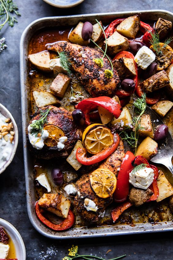 Easy Greek Sheet Pan Chicken Souvlaki & Potatoes - made in ONE pan & done in under an hour. Yes, an easy, healthy, well balanced meal! @halfbakedharvest.com
