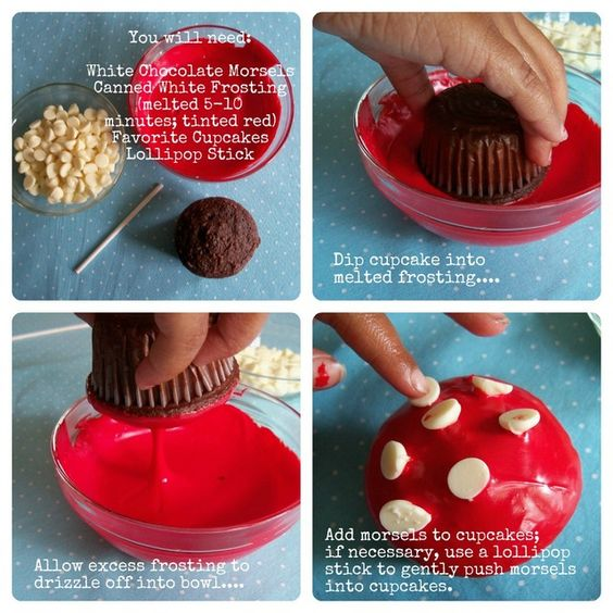 toadstool cupcakes- never thought of dipping the cupcake into the frosting!