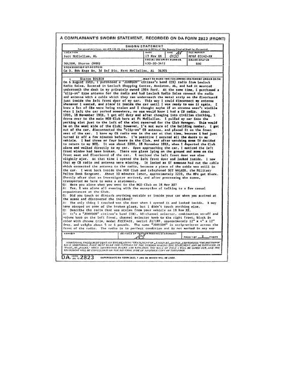 Figure 15 DA Form 2823 Sworn Statement sworn statement – Example of Sworn Statement