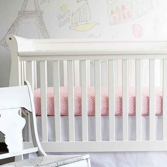 Pink & White Diamond Crib Sheet - sophisticated, soft and beautiful! #PNshop