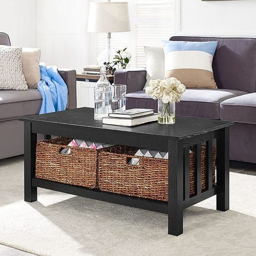 Black Wood Coffee Table With Storage Baskets Coffee Table With Storage Coffee Table Coffee Table With Baskets
