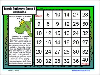 Multiplication games for multiplication facts multiplication board