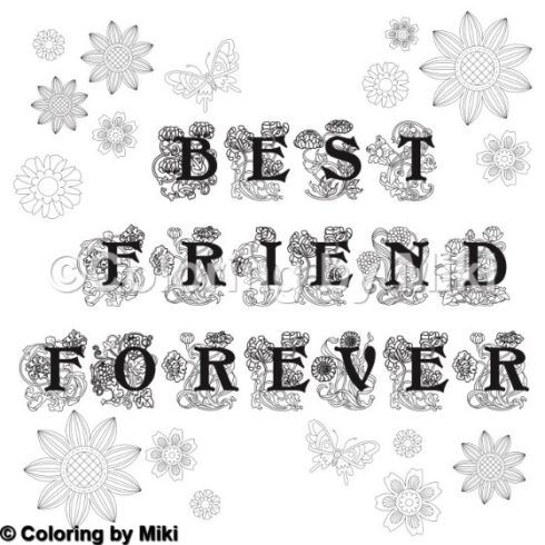 Lettering Best Friend Forever Coloring Page 26 Coloring Pages