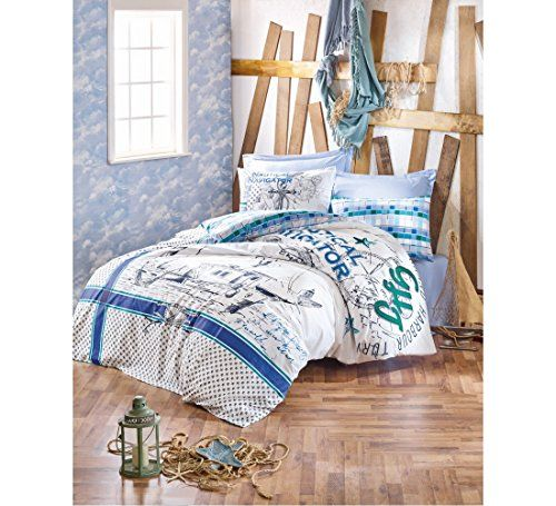 Decomood 100 Cotton Nautical Bedding Set Single Twin Size Anchors Ship Compass Themed Quilt Duvet Cover S Duvet Cover Sets Nautical Bedding Sets Bedding Set