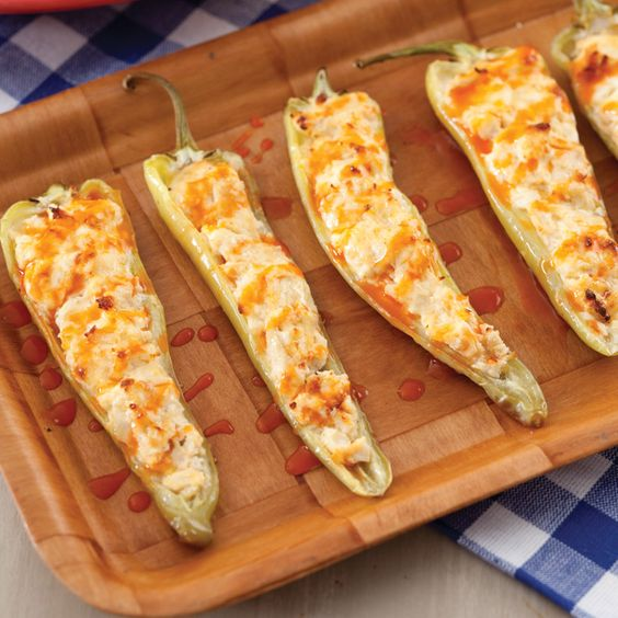 Turn up the heat with our Buffalo Chicken Banana Peppers — the perfect appetizer for any occasion.