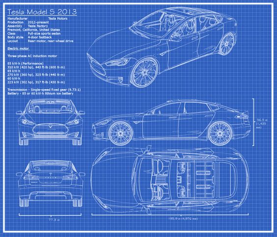 The Tesla Model S Blueprints Tesla Ev Infographics