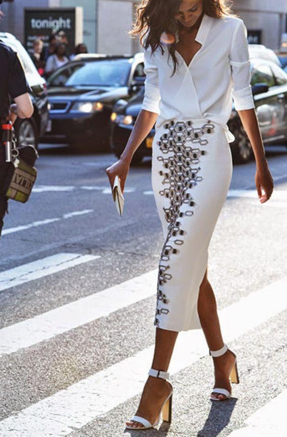 outfits blanco blusa con falda larga