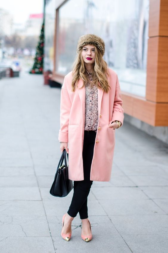 oversized-pink-coat-cocoon-peach-fur-headband Sheinside pink