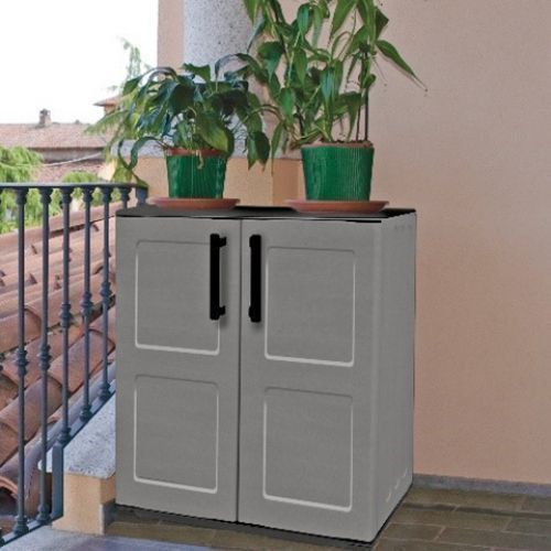 Medium Plastic Storage Cupboard Grey