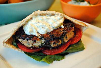 Chicken Spanakopita Burger with Homemade Tzatziki