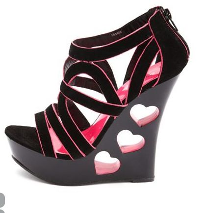 Black wedges, hot pink heart cut outs #heels #shoes #high heels ...