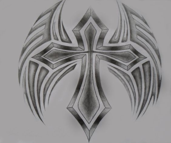24 Best Cloud Cross With Wings Tattoo Images On Pinterest: Drawings Of Cross With Rose