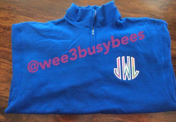 Applique monogram 1/4 zip sweatshirt! @wee3busybees