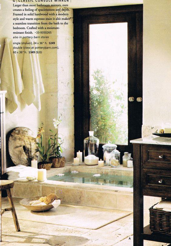 Sunken Stone Tub Pottery Barn Dreamy Home Design Pinterest Pottery Barn Bathroom