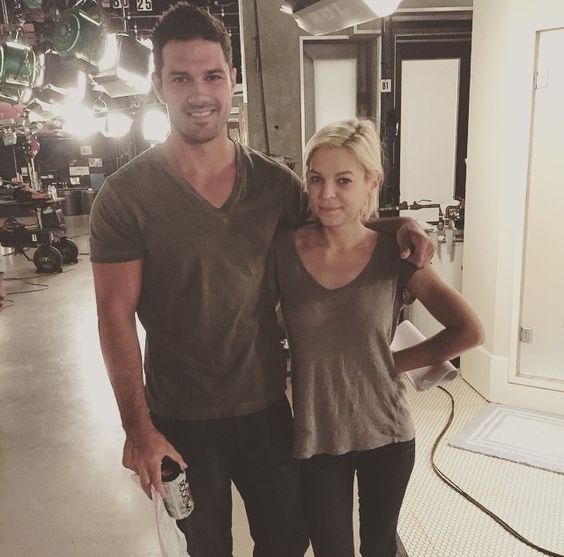 Ryan Paevey and Kirsten Storms in almost matching shirts