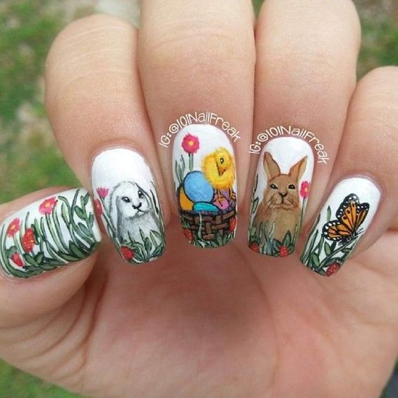 2019 Beautiful and Colorful Easter Nail Art Designs