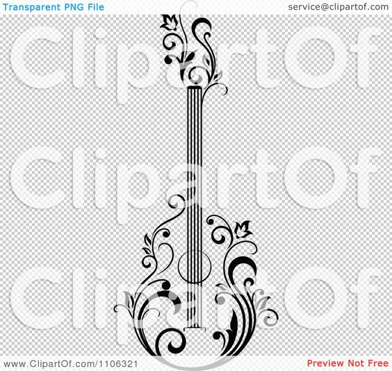 Black And White Floral Guitar