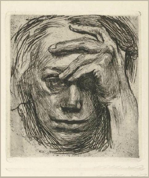 'Self-Portrait, Hand at the Forehead', 1910 - Käthe Kollwitz
