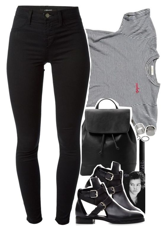 """""""blackbear - idfc"""" by daisym0nste ❤ liked on Polyvore featuring UGG Australia, NARS Cosmetics, Pieces, MANGO, J Brand, women's clothing, women's fashion, women, female and woman"""