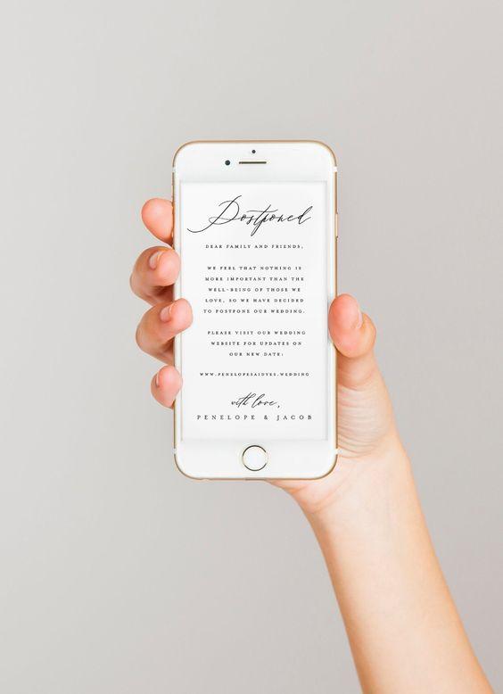 Postponed Wedding Announcement Digital Change the Wedding | Etsy