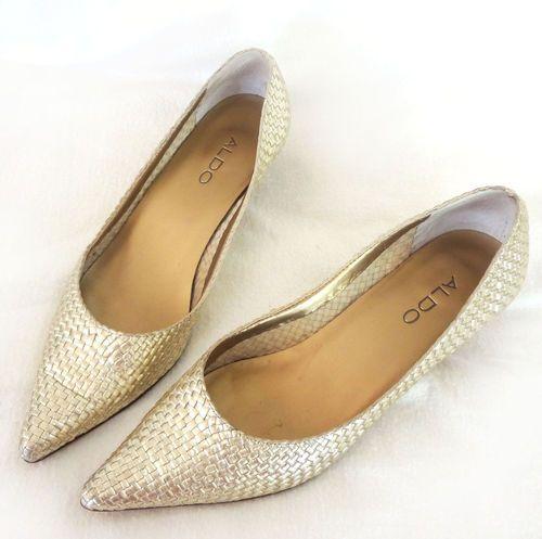 ALDO Gold Mesh Kitten Heels Pumps Pointy Toe Shoes Woven Metallic