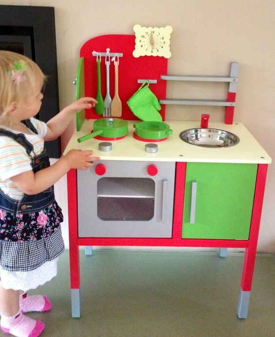WOODEN KITCHEN TOY UNIT UTENSILS CHILDS FUN ROLE PLAY WOOD COOKER SINK HOB OVEN